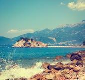 Sveti Stefan Island in Montenegro at Adriatic Sea Stock Images