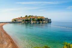 Sveti Stefan Island in Montenegro, de Balkan, Adriatische Overzees Stock Foto's