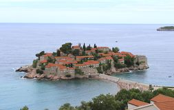 Sveti Stefan island, Montenegro. Sunny summer day, top view. stock photo