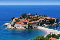 Sveti Stefan island near city of Budva, Montenegro Royalty Free Stock Images