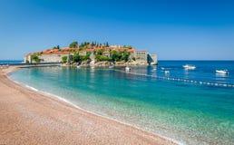 Sveti Stefan island and paradise beach in Montenegro Stock Image