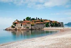 Sveti stefan island resort in montenegro. Sveti stefan island resort and beach in montenegro Royalty Free Stock Images