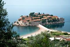 Sveti stefan island resort in montenegro. Sveti stefan island resort and beach in montenegro Royalty Free Stock Photos