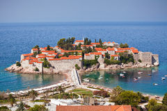 Sveti Stefan island-resort, Montenegro. The landscape of Sveti Stefan island-resort, Montenegro stock photography