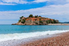 Sveti Stefan Island. Sunny summer day royalty free stock photo