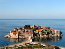 Sveti Stefan - Montenegro. Sveti Stefan Montenegro town-hotel tourist stock image