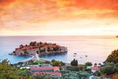 Sveti Stefan, Montenegro Balkan, adriatisches Meer, Europa stockfoto
