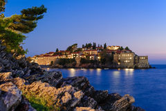 Sveti Stefan night view Royalty Free Stock Photography