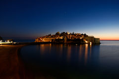 Sveti Stefan resort island Montenegro at night Royalty Free Stock Photo