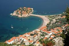 Sveti Stefan resort, Montenegro. Sveti Stefan (Saint Stephen) is a seaside luxury resort in Montenegro. The resort on its peninsula with the causeway connecting Stock Photos