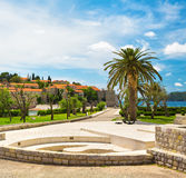 Sveti Stefan. Road to Sveti Stefan Island, Montenegro Royalty Free Stock Photo
