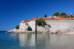 Sveti Stefan and sea Royalty Free Stock Photo