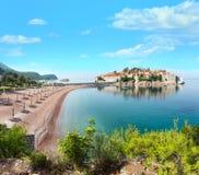 Sveti Stefan sea islet Montenegro. Summer panorama. The view of Sveti Stefan sea islet with pink sandy Milocer Beach Montenegro, 6 kilometres southeast of Budva royalty free stock images