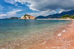 The Sveti Stefan, small islet and hotel resort in Montenegro Royalty Free Stock Photography