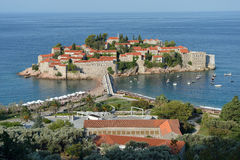 Sveti Stefan, small islet and resort in Montenegro. Royalty Free Stock Photo