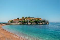 Sveti Stefan St Stephen Island, Montenegro, mar adriático fotos de archivo