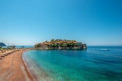 Sveti Stefan St Stephen Island, Montenegro, mar adriático fotos de archivo libres de regalías