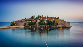 Sveti Stefan after sunset Royalty Free Stock Photos