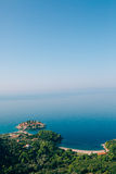 Sveti Stefan, view from the mountain Royalty Free Stock Photography