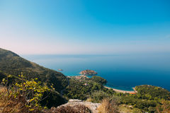 Sveti Stefan, view from the mountain Stock Photo