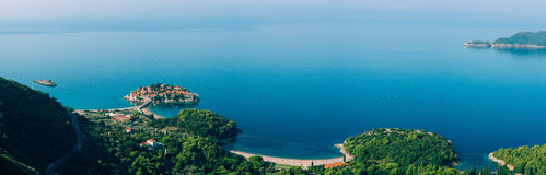 Sveti Stefan, view from the mountain Stock Images