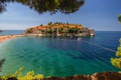 Sveti Stefan wyspa w Budva w pięknym letnim dniu, Montenegro obrazy royalty free