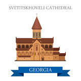 Svetitskhoveli Cathedral Georgia attraction travel sightseeing. Svetitskhoveli Cathedral in Georgia. Flat cartoon style historic sight showplace attraction web stock illustration