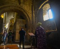 Svetitskhoveli-Kathedrale in Mtskheta, Georgia lizenzfreies stockbild