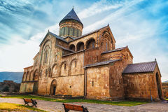 Svetitskhoveli Orthodox Cathedral in Mtskheta, Georgia. Church with mural of zodiac Royalty Free Stock Photos
