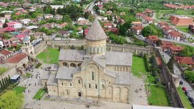 Svetitskhoveli - Patriarchal Cathedral Church of the Georgian Orthodox Church. In the city of Mtskheta. Aerial view royalty free stock photography