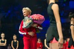 Svetlana Khorkina with a bouquet of flowers