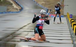 Svetlana Perminova on RBU Championship of Russia in the summer biathlon in Sochi Royalty Free Stock Photo