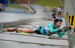 Svetlana Sleptsova on RBU Championship of Russia in the summer biathlon in Sochi Stock Photos