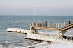 SVETLOGORSK, KALININGRAD-GEBIED, RUSLAND - FEBRUARI 27, 2011: Toeristen op een lange pier die de Oostzee kijken Stock Afbeeldingen
