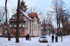 SVETLOGORSK, KALININGRAD-REGION, RUSSLAND - 13. FEBRUAR 2011: Altes ehemaliges deutsches Gebäude im berühmten russischen Seebad S Stockbild