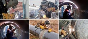 Svetsning arbetar på gasledningen royaltyfri bild