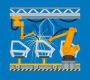 Svetsning för vektorillustrationfläck av bildörrar med industriella robotar vektor illustrationer