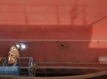 svetsning för welder för ship för skrovelevatorman Royaltyfri Bild