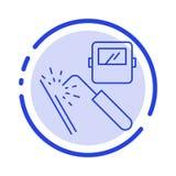Svetsning maskin, maskering, fabrik, blå prickig linje linje symbol för bransch royaltyfri illustrationer