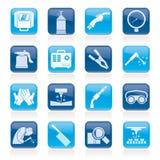 Svetsning- och konstruktionshjälpmedelsymboler royaltyfri illustrationer