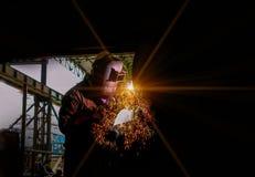 Svetsning på mörk signal Fotografering för Bildbyråer