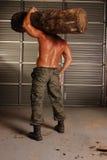 svettig skogsarbetare Royaltyfri Foto