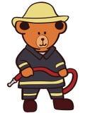 Svg exhausto de Crafteroks de la mano del vector EPS del oso de peluche del bombero libremente, fichero libre del svg, EPS, dxf,  ilustración del vector
