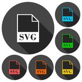 SVG file icons set with long shadow Stock Photography
