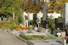 Cemetery. SVIADNOV, CZECH REPUBLIC – OCTOBER 17: various decorated graves on the cemetery in Sviadnov, Czech Republic, October 7, 2017 Royalty Free Stock Images