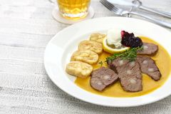 Svickova na smetane, traditional Czech cuisine Royalty Free Stock Image