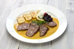 Svickova na smetane, traditional Czech cuisine Stock Photos