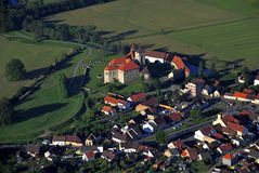 Svihov castle - air photo Royalty Free Stock Images