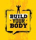 Sviluppi il vostro corpo Citazione d'ispirazione di motivazione della palestra di forma fisica e di allenamento Elemento creativo illustrazione di stock
