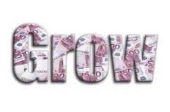 sviluppisi L'iscrizione ha una struttura della fotografia, che descrive molte 500 euro fatture di soldi illustrazione di stock